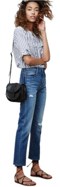 Item - Distressed Cruiser High Rise Crop Straight Leg Jeans Size 4 (S, 27)