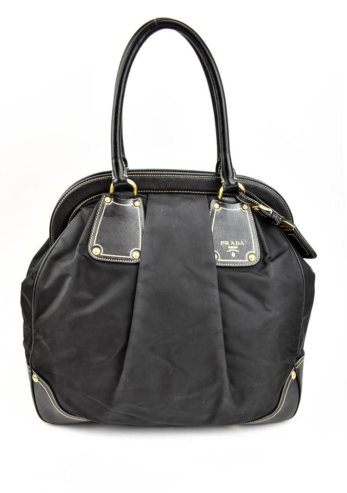 82319ab11d95 Prada Black Saffiano Leather   Vela Nylon Logo Large (Nm) Tote - Tradesy