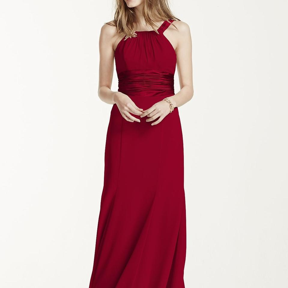 509a29bc056 David s Bridal Apple Red Chiffon and Charmeuse F12732 Casual Bridesmaid Mob  Dress