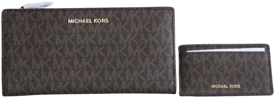 cfe78dcb4f0f Michael Kors Michael Kors Money Pieces Signature 2 in 1 Card Case Carryall  Wallet Image 0 ...