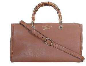 bae6e8e1b51 Added to Shopping Bag. Gucci Satchel in Brown. Gucci Bamboo Handbag Shopper  2 Way Tote Purse Brown Leather Satchel