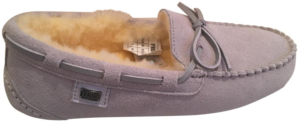 367df5fce8a Australia Luxe Collective Glacier Gray New Suede Slippers Moccasins ...