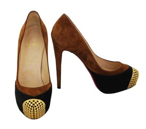 Christian Louboutin Suede Hidden Platform Gold Camel, Black Pumps