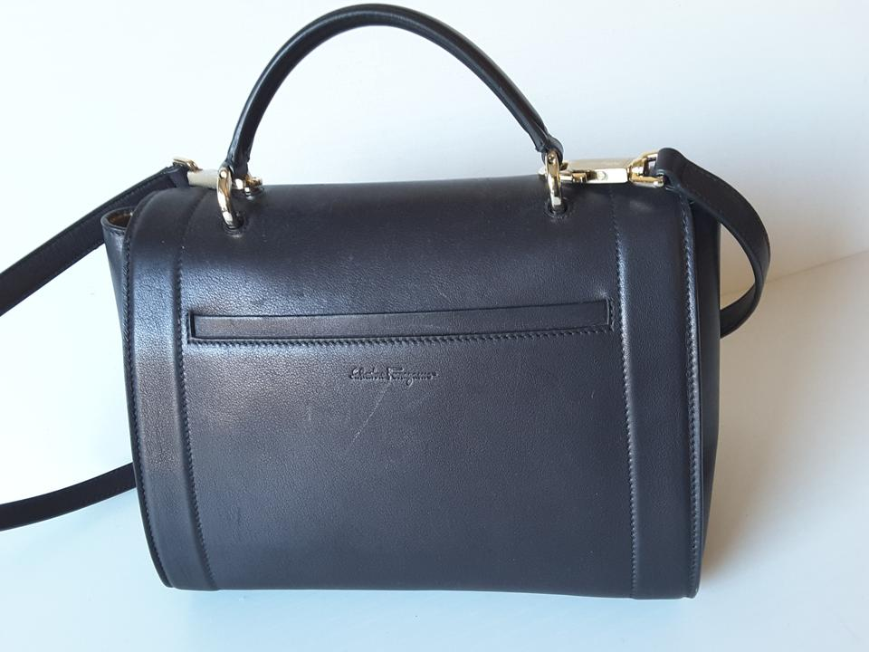 d2f724b8e929 Salvatore Ferragamo Sofia Rainbow Medium Shoulder Black Leather Messenger  Bag
