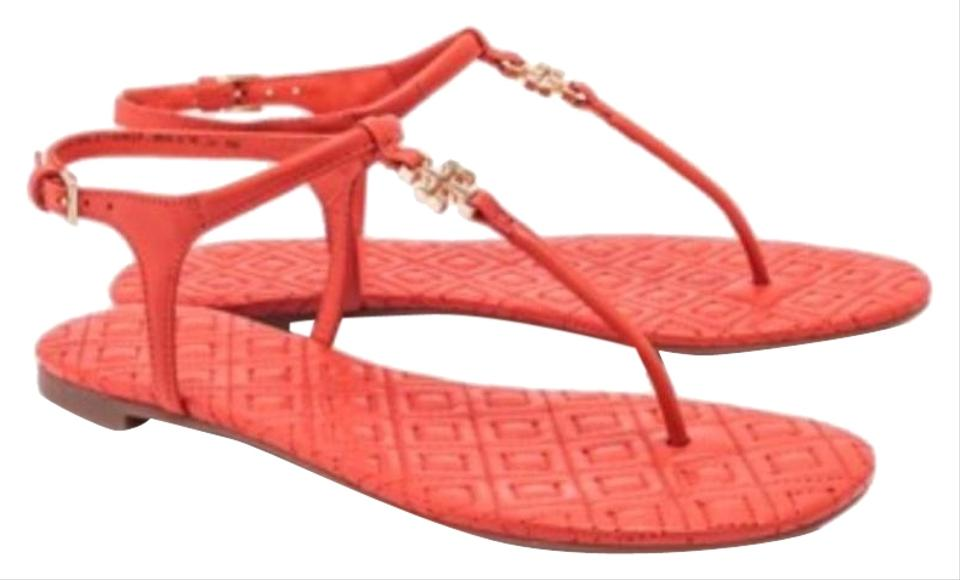 f1af7aa6e Tory Burch Tangerine Marion T Quilted T-strap Sandal Flats. Size  US 9.5  Regular (M ...