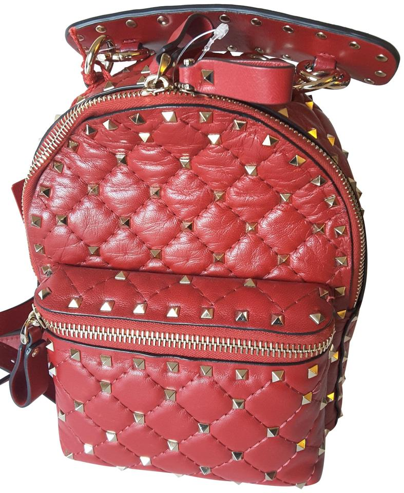 Valentino Garavani Rockstud Spike Mini Magenta Leather Backpack ... 3ae6532eb8