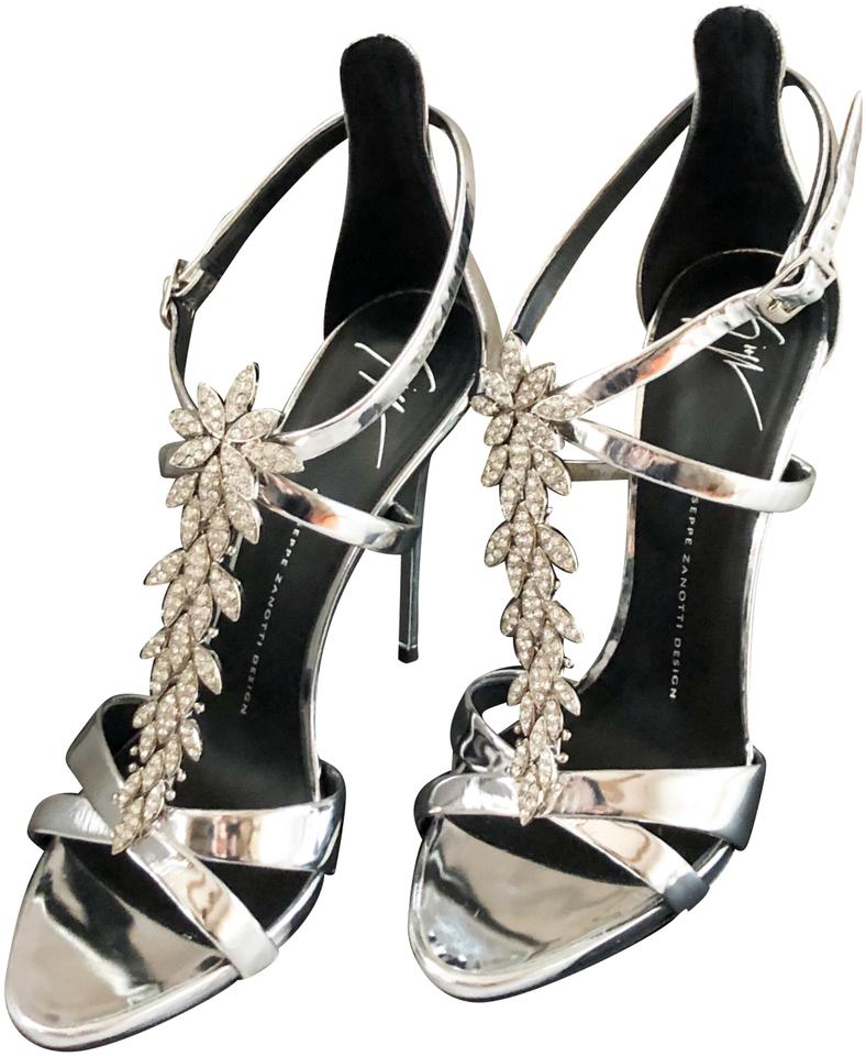 eac0f4fd4d421b Giuseppe Zanotti Embellished Crystal Silver Leather Sandals Size US ...