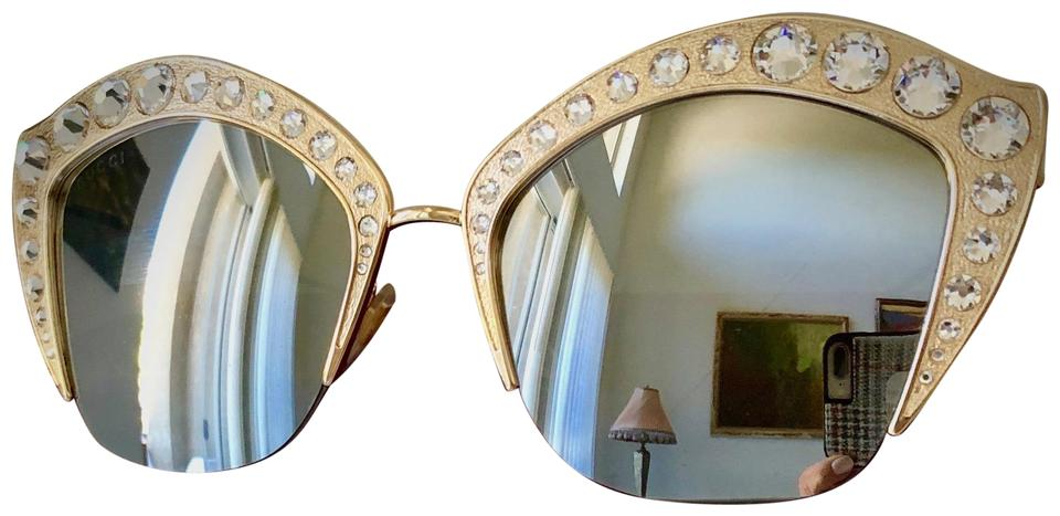 7372167492f Gucci Gucci Gold Swarovski Crystal Studded Cat-EyeSunglasses GG0114S 004 53  Image 0 ...