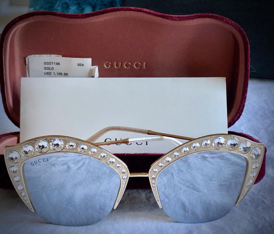 010eb43df0331 Gucci Gold with Mirrored Lenses Swarovski Crystal Studded Cat ...