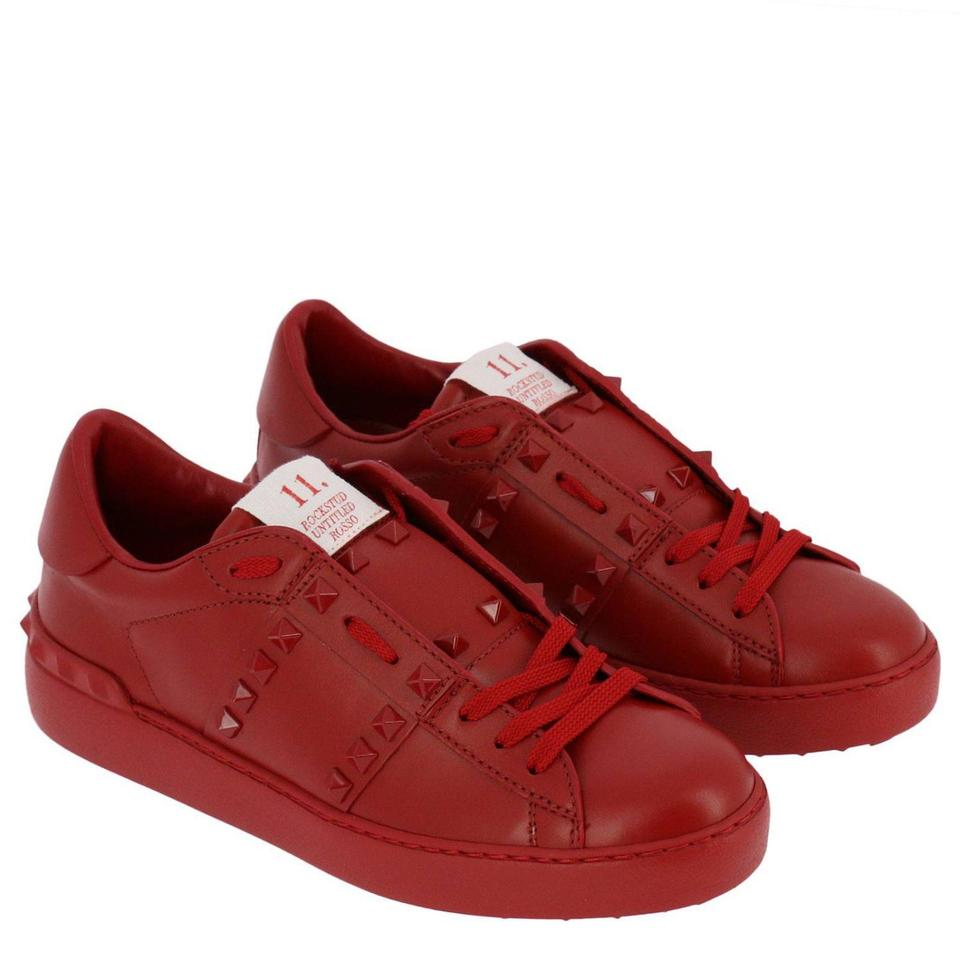 Valentino Red Limted Edition Rockstud Untitled 11  Leather Lace-up Low-top  Sneakers Size EU 38 5 (Approx  US 8 5) Regular (M, B)