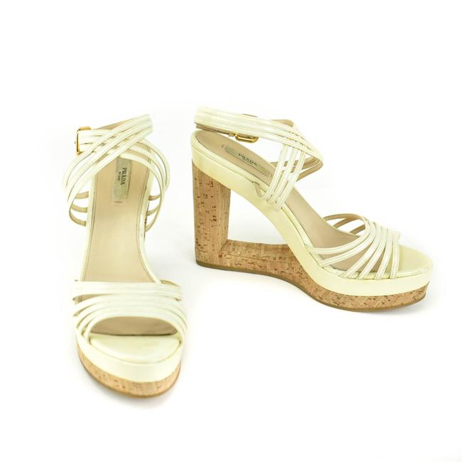 Item - Off-white Patent Leather & Cork Wedge Heels/ Sandals Size EU 39 (Approx. US 9) Regular (M, B)