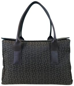 Céline Macadam Canvas Tote Satchel in Dark Brown