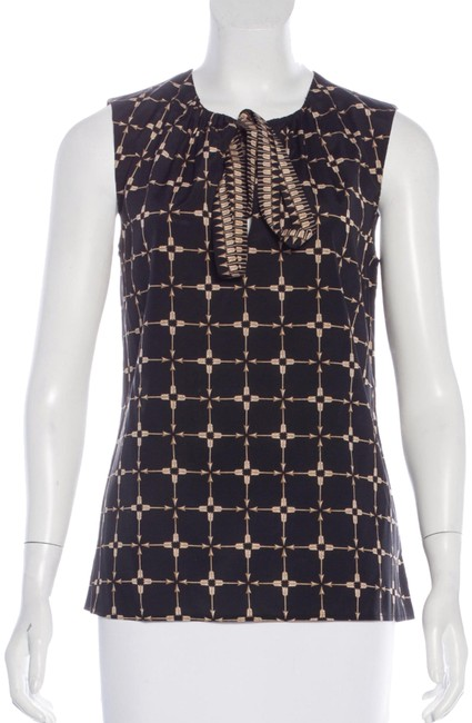 Item - Black and Brown Silk Blouse Size 4 (S)
