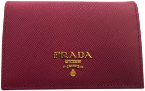 Prada Pink Saffiano Leather Card Holder Wallet with Gold Hardware