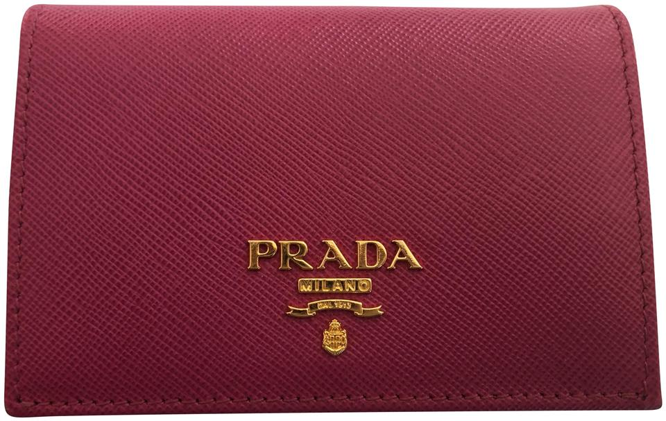 018c97296489 ... france prada pink saffiano leather card holder wallet with gold  hardware 5a540 858e8