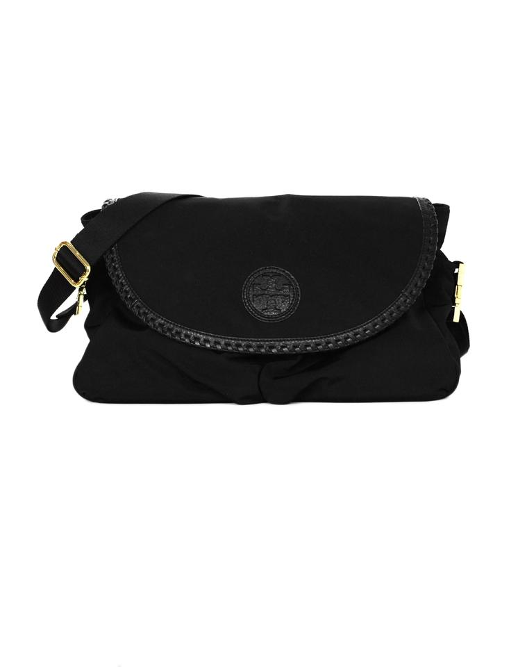 926afce02657 Tory Burch Whipstitch Marion Leather Trim with Changing Pad Black Nylon  Diaper Bag