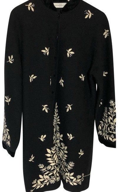 Item - Wool Button with Embroidery Black and Cream Sweater