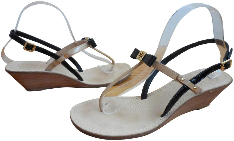 f853d1e76d3c Tory Burch Black and Nude Patent Leather ~ Kailey ~ Box ~ Dustbag ~ 8.5 9 ~ Wedge  Thong Sandals