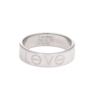 Cartier Love 18k White Gold 5.5mm Band Ring Size EU 57-US 8 w/Paper