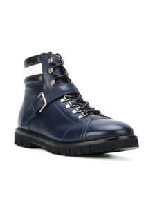 Bally Blue Champions Ink Leather Web Logo Lace Up Sneaker Boots 8 D 41 Shoes