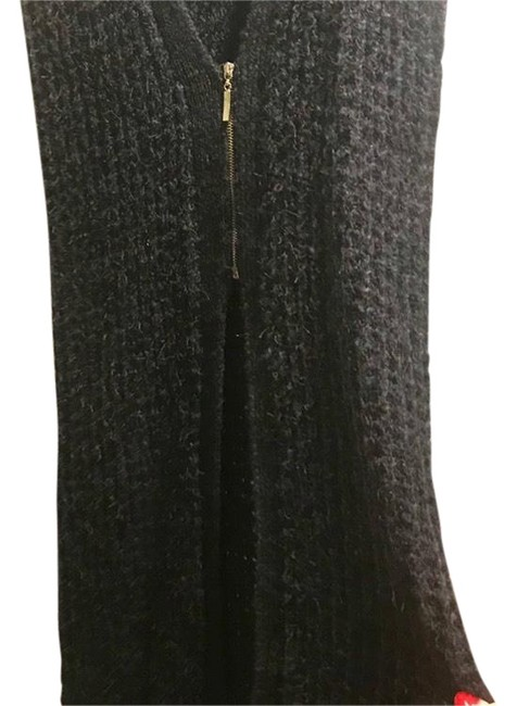 Item - Navy Blue W Black Trim Crochet Long Sweater Fitted. Worn Once. Very Warm Vest Size 0 (XS)