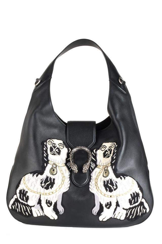 c5d122450e0e Gucci Dionysus Medium Dog Embroidered Black Leather Shoulder Bag ...