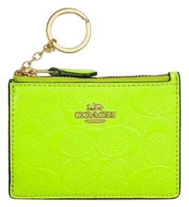 Coach NWT COACH Mini Skinny Id Case In Signature Leather Neon Yellow