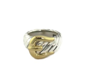 David Yurman Sterling 18k Yellow Gold Belt Buckle Cable Band Ring