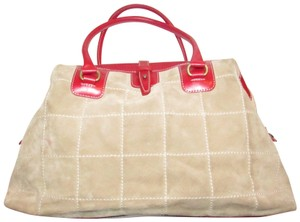 Francesco Biasia Mint Condition Size Rare Style By Color Block Style Lthr/Tan Satchel in tan quilted suede with white contrast stitching and red leather
