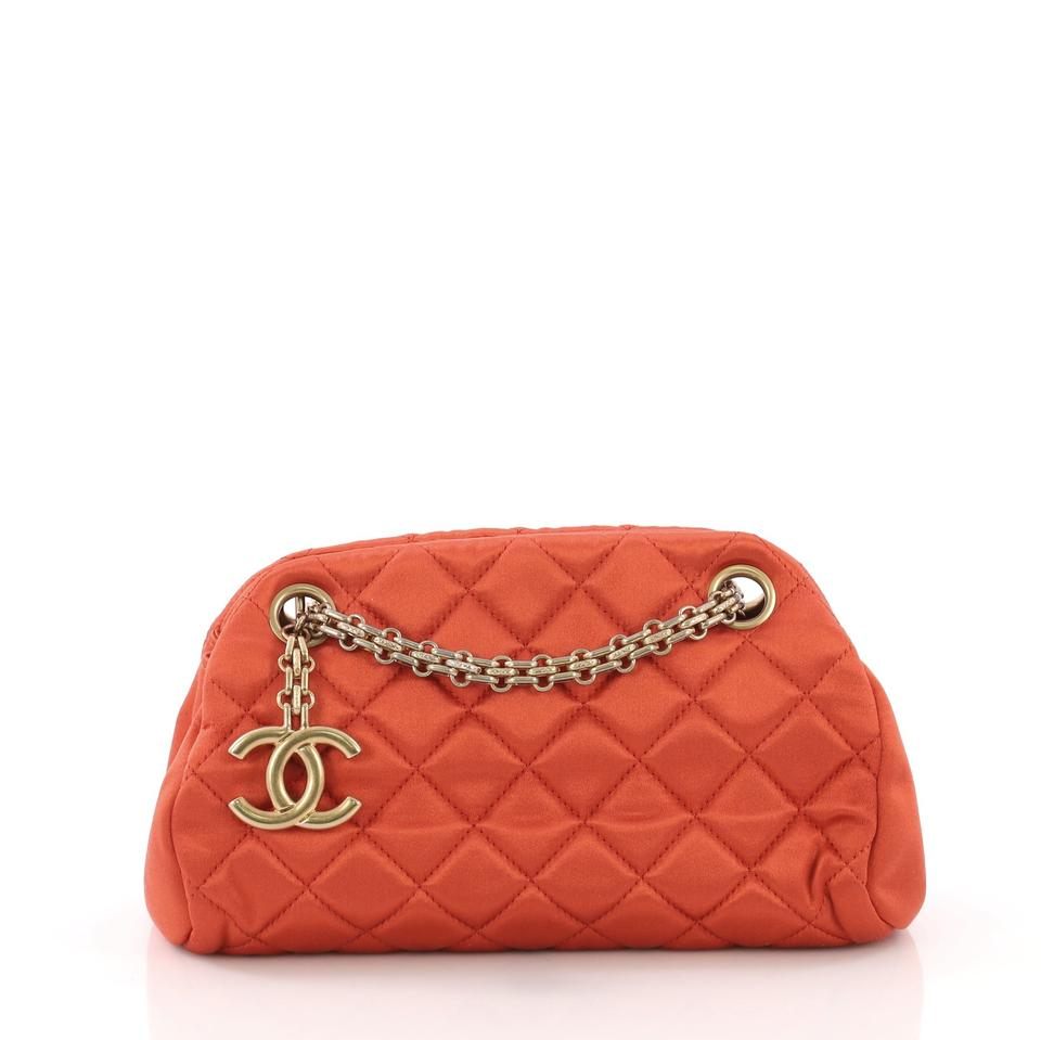 a20b94523aa1f4 Chanel Mademoiselle Just Handbag Quilted Mini Orange Satin Clutch ...
