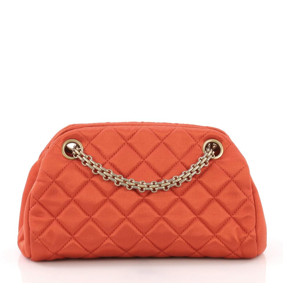 043c80afedae27 Chanel Mademoiselle Just Handbag Quilted Mini Orange Satin Clutch - Tradesy