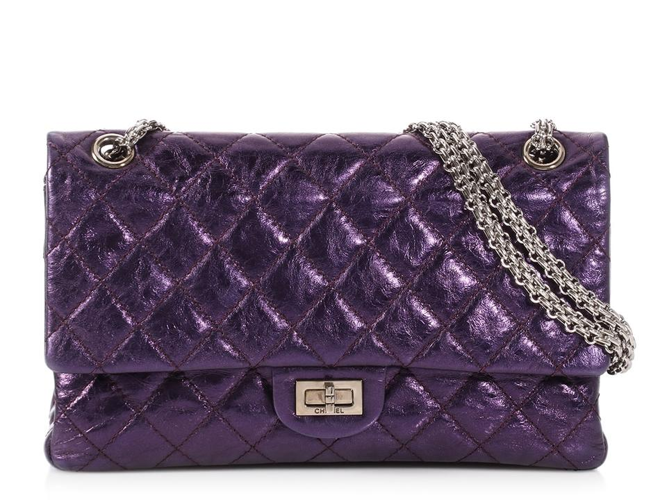 6a434996cd5a Chanel 2.55 Reissue 226 Quilted Distressed Metallic Purple Calfskin Leather Shoulder  Bag