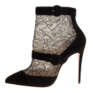 Christian Louboutin Suede Pointed Toe Black Boots