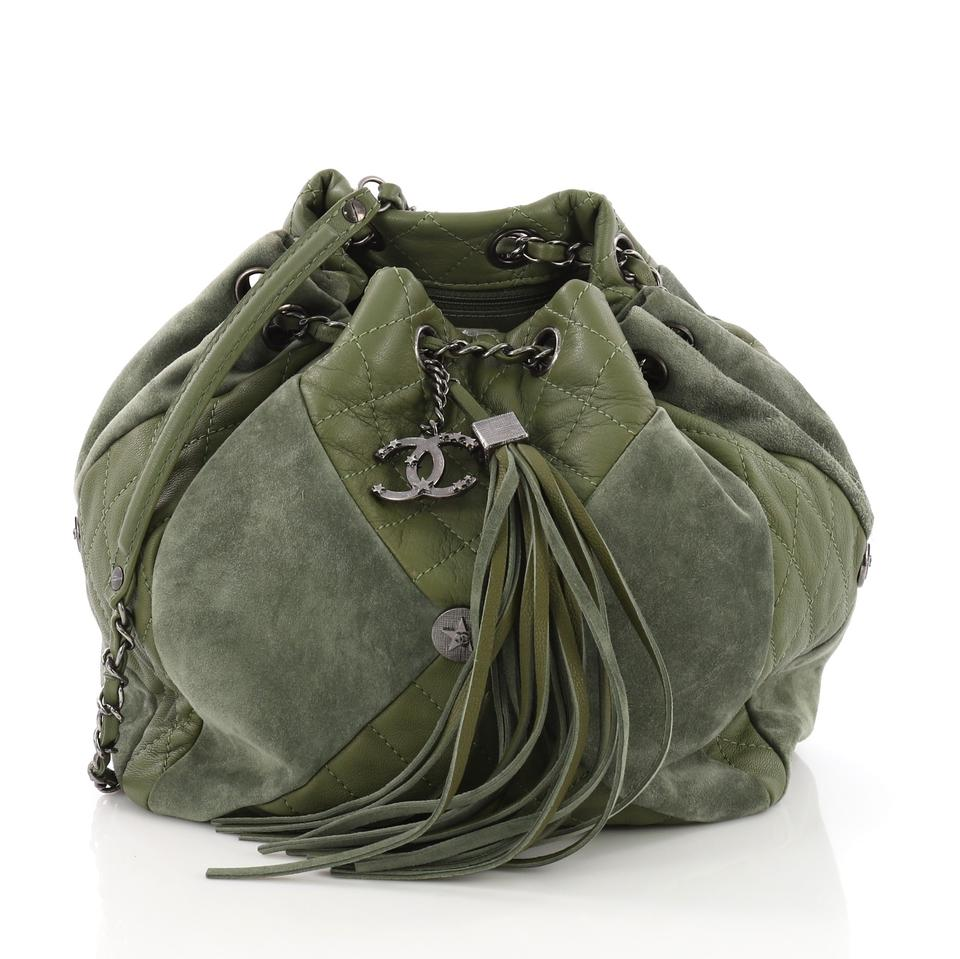Chanel Drawstring Patchwork Quilted Small Green Leather and Suede Shoulder  Bag 8afd37b8d6