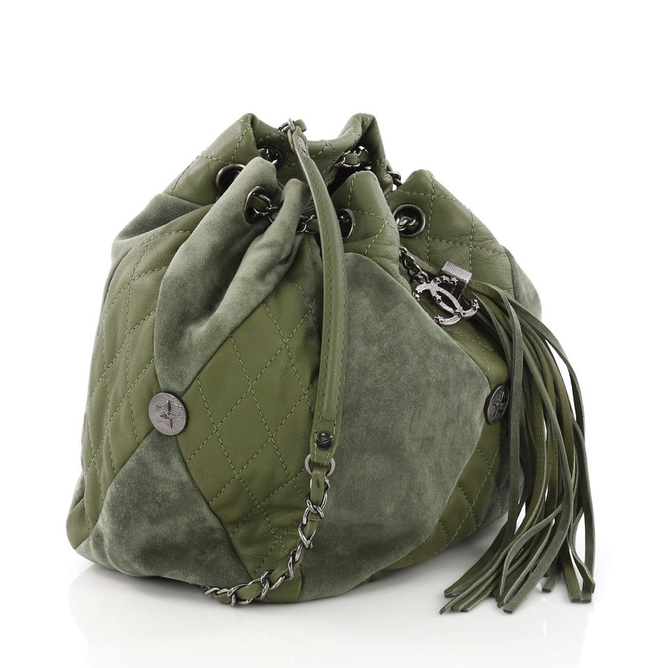 Chanel Drawstring Patchwork Quilted Small Green Leather and Suede ... 720e691c74