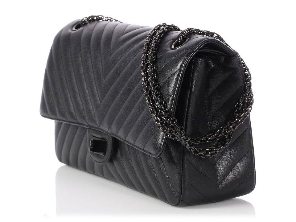 2cb3c1b7b67c Chanel 2.55 Reissue **on Hold For Aff** 226 Chevron Quilted So Black  Calfskin Leather Shoulder Bag - Tradesy