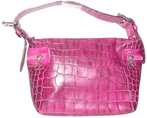 Francesco Biasia Retro European Chic Mint Condition Shoulder Croc Made By F. Satchel in fuchsia crocodile embossed leather with bold chrome accents