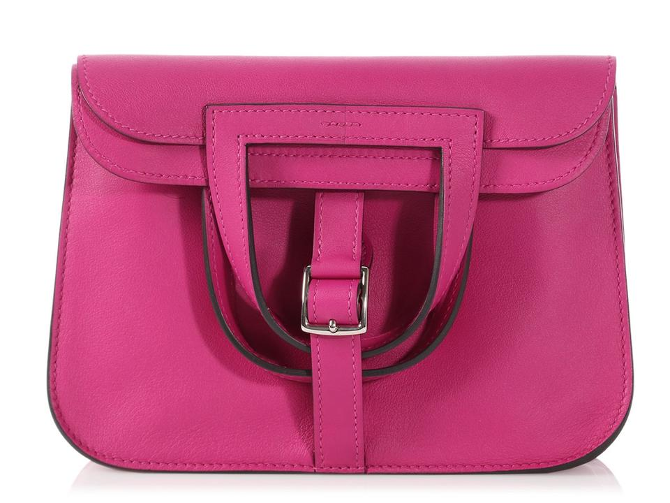 14381ce8d5df Hermès Halzan Mini Swift Rose Pourpre Pink Leather Cross Body Bag ...