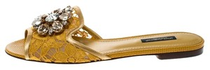 Dolce&Gabbana Lace Crystal Embellished Yellow Sandals