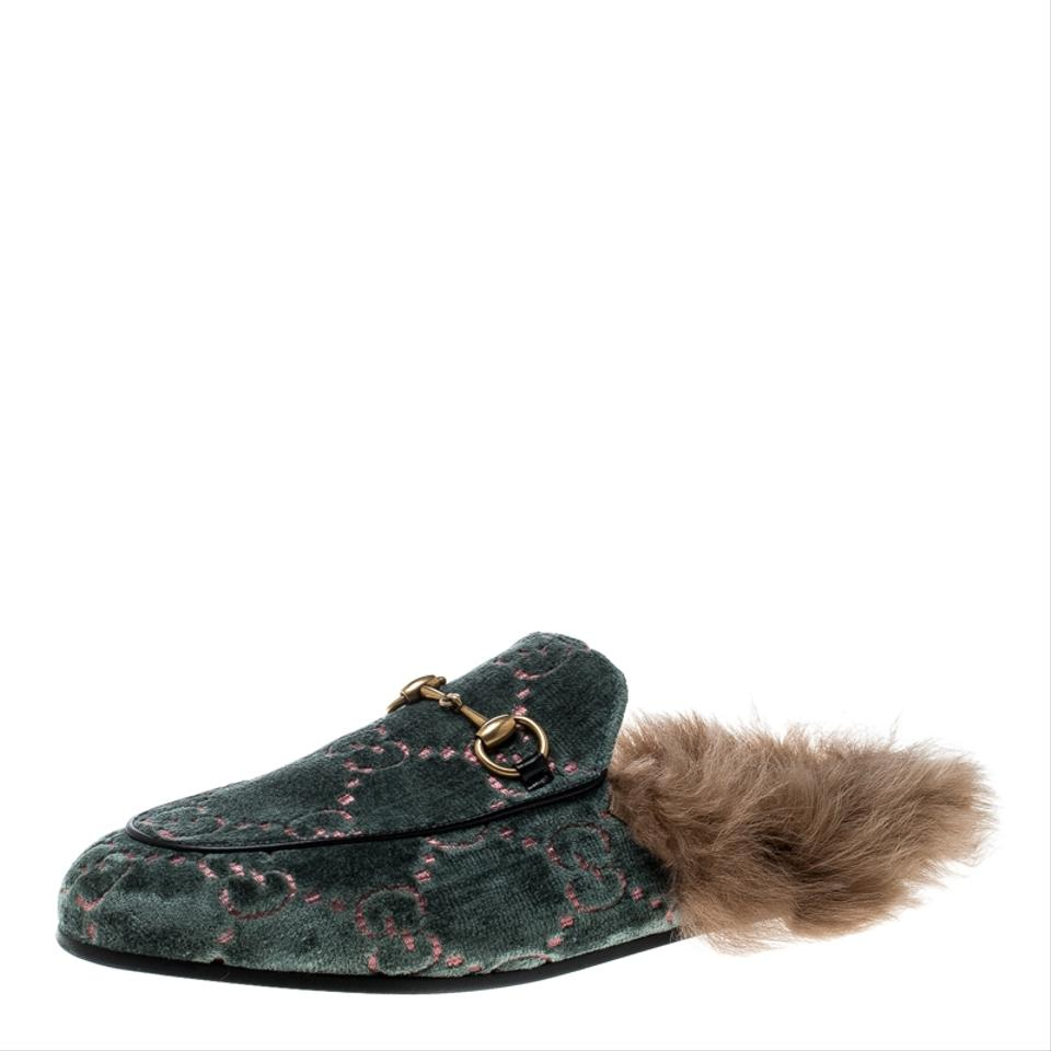 cfd19f1f13f Gucci Green Green Brown Velvet and Fur Lined Princetown Mule Loafers Si  Flats Size EU 37 (Approx. US 7) Regular (M