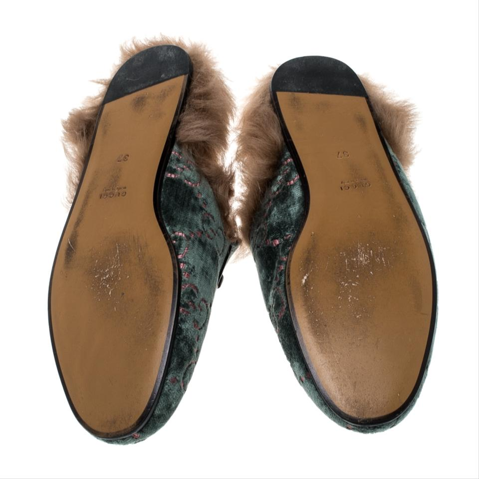 58abbde076c Gucci Green Green Brown Velvet and Fur Lined Princetown Mule Loafers ...