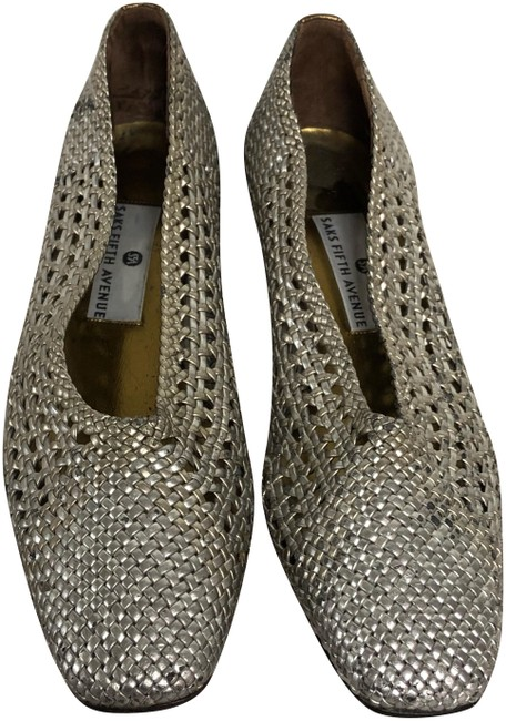 Item - Silver Woven Leather M Pumps Size US 7.5 Regular (M, B)