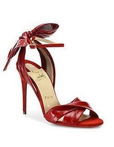 Christian Louboutin Ankle Strap Eel Bow Red Sandals