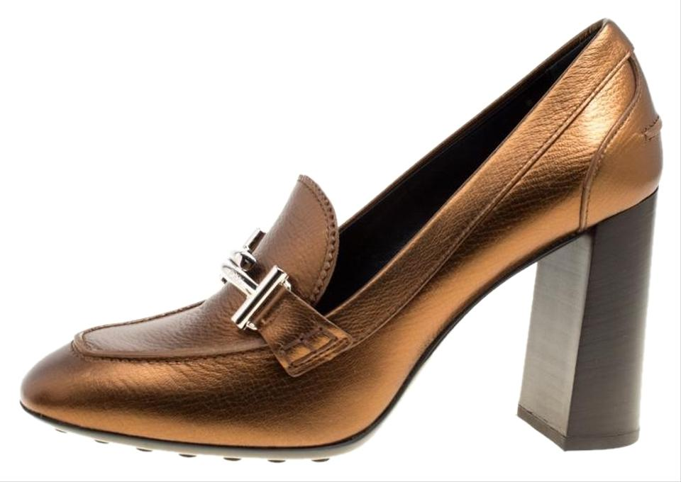 807c343bba4 Tod s Metallic Bronze Leather Gomma Maxi Double T Court Loafer S Pumps