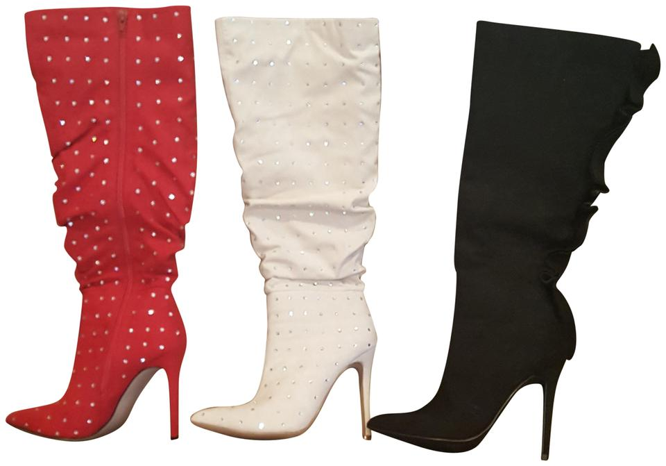 0abc0906d154 ShoeDazzle Black Red White (3 Pairs ) Fenella Boots Booties Size US ...