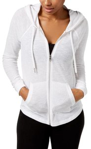 Calvin Klein Calvin Klein Ruched Long Sleeve Zip-Front Hoodie Jacket, White, 2XL