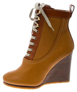 Chloé Leather Lace Wedge Ankle Brown Boots