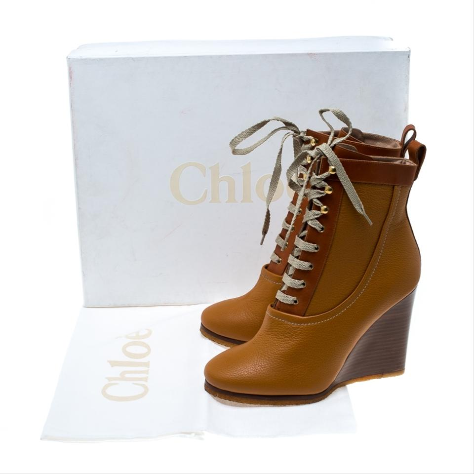 d962a7df99c13 Chloé Brown Leather Lace Up Wedge Ankle Boots/Booties Size EU 38 ...