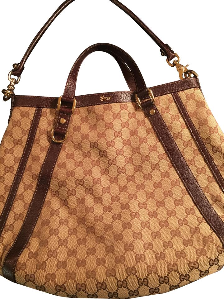 706e01b4b977 Gucci Abbey Brown Leather Gg Monogram Convertible Pre Multi-colored Canvas Hobo  Bag