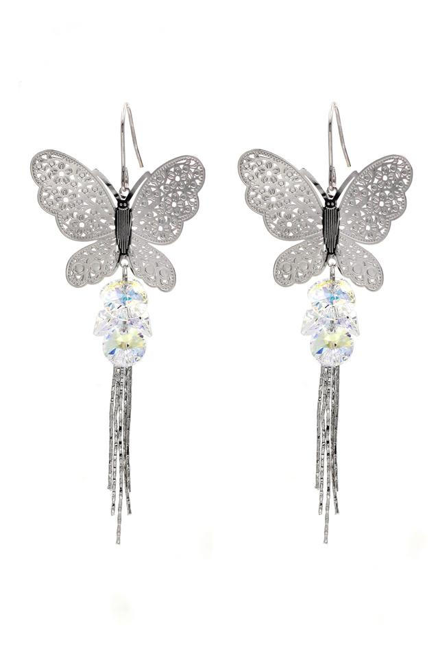 classic fit cheap exceptional range of styles and colors Silver Butterfly Fringe Swarovski Crystal Earrings